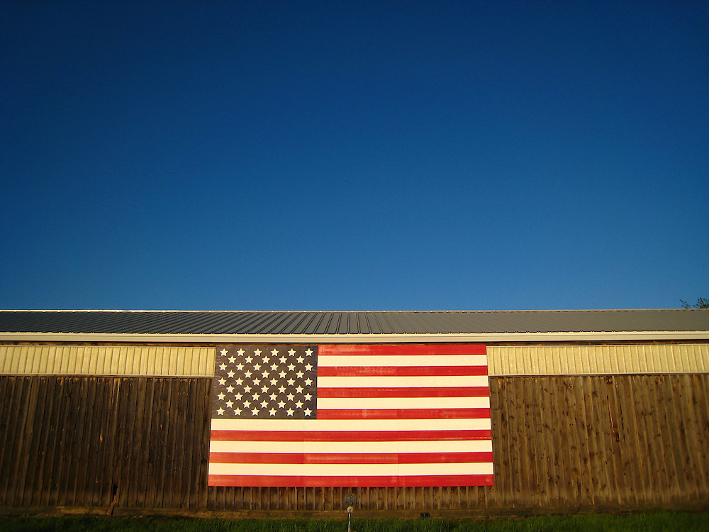 Flag on the side of a barn in Concord, Ma.