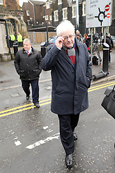 © Licensed to London News Pictures. 1/03/2016. Ballymena, Northern Ireland, UK. Michael Gallagher (R) who lost his son Aiden in the 1998 Omagh Bomb, leaves Ballymena Court House after the case against a man accused of murdering 29 people in the Real IRA bomb attack in Omagh in 1998 has collapsed. Seamus Daly, 45, from Jonesborough, County Armagh was arrested in 2014. The 43-year-old bricklayer, originally from Culloville, County Monaghan also faced counts of causing the explosion.. Photo credit : Paul McErlane/LNP