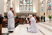 DENVER, CO - MARCH 2: Christian James Mast genuflects before the altar alongside Christopher Considine and fellow ordinandi Juan Adrian Hernandez and Juan Manuel Madrid during the transitional deacon ordination at the Cathedral Basilica of the Immaculate Conception on March 2, 2019, in Denver, Colorado. (Photo by Daniel Petty/for Denver Catholic)