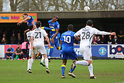 AFC Wimbledon striker Tom Elliott (9) with a header and chance at goal during the EFL Sky Bet League 1 match between AFC Wimbledon and Northampton Town at the Cherry Red Records Stadium, Kingston, England on 11 March 2017. Photo by Matthew Redman.
