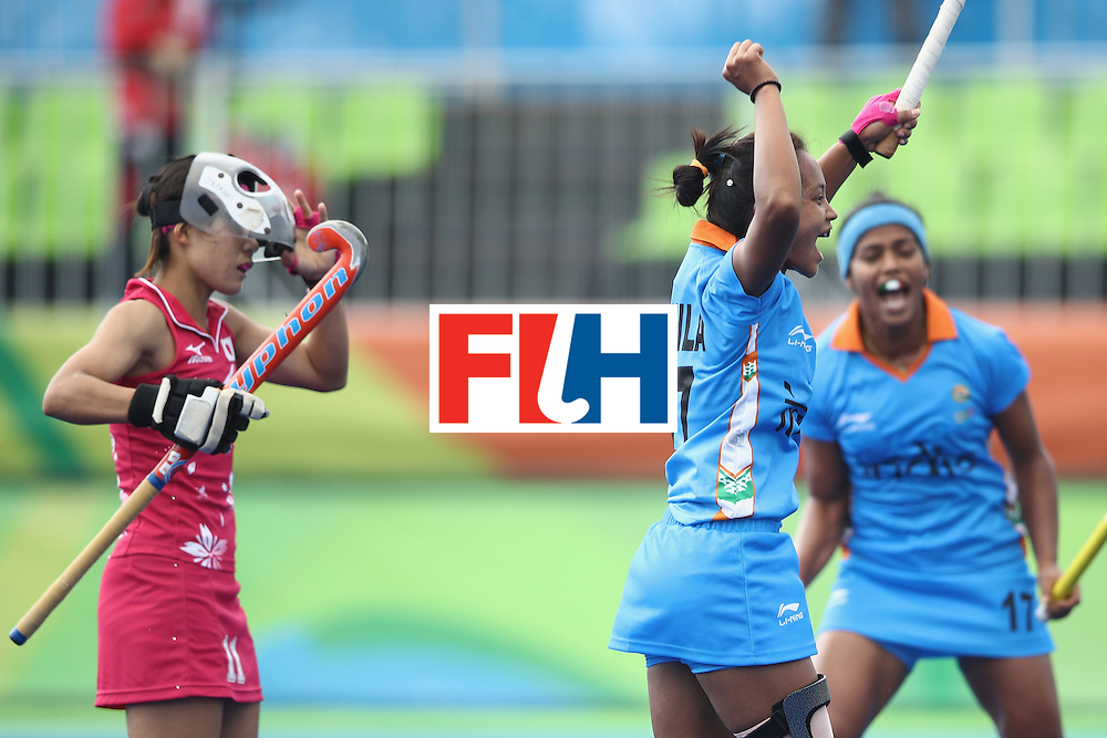 RIO DE JANEIRO, BRAZIL - AUGUST 07:  Sushila Pukhrambam of India celebrates scoring a goal during the women's pool B match between Japan and India on Day 2 of the Rio 2016 Olympic Games at the Olympic Hockey Centre on August 7, 2016 in Rio de Janeiro, Brazil.  (Photo by Mark Kolbe/Getty Images)