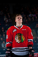 KELOWNA, CANADA - JANUARY 21: Henri Jokiharju #16 of the Portland Winterhawks stands on the ice during the national anthem against the Kelowna Rockets on January 21, 2017 at Prospera Place in Kelowna, British Columbia, Canada.  (Photo by Marissa Baecker/Getty Images)  *** Local Caption *** Henri Jokiharju;