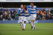 Queens Park Rangers midfielder, (David Hoilett) Junior Hoilett (23) celebrating scoring penalty during the Sky Bet Championship match between Queens Park Rangers and Birmingham City at the Loftus Road Stadium, London, England on 27 February 2016. Photo by Matthew Redman.