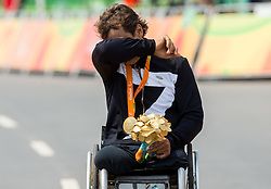 Alessandro Zanardi of Italy, winner in Men's Time Trial H5 reacts during Victory ceremony after the Cycling Road competition during Day 7 of the Rio 2016 Summer Paralympics Games on September 14, 2016 in Olympic Aquatics Stadium, Rio de Janeiro, Brazil. Photo by Vid Ponikvar / Sportida