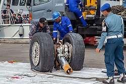 November 3, 2018 - Jakarta, Indonesia - Wheel from Lion Air Plane Crash Wheel retrieved at Tanjung Priok Harbour. Indonesian Navy Millitary founded the wheel at Karawang sea during the searching for the fuselage of the air plane. (Credit Image: © Donal Husni/ZUMA Wire)