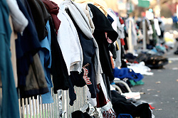 Piles of clothes belonging to athletes are left behind at the start of the 2016 Philadelphia Marathon, in Center City Philadelphia, PA.<br /> <br /> With the city of Philadelphia taking over organization the course, as well as start and finish locations are slightly different from past years. The winners for 2016 are, in the Mens race, Kimutai Cheruiyot in 2:15:53, and Taylor Ward in the Womens race in 2:36:25