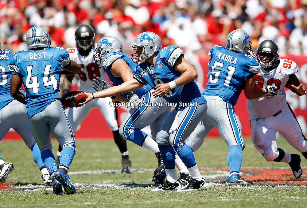 Detroit Lions quarterback Matthew Stafford (9) hands off the ball on a running play to Lions running back Jahvid Best (44) during the NFL week 1 football game against the Tampa Bay Buccaneers on Sunday, September 11, 2011 in Tampa, Florida. The Lions won the game 27-20. ©Paul Anthony Spinelli
