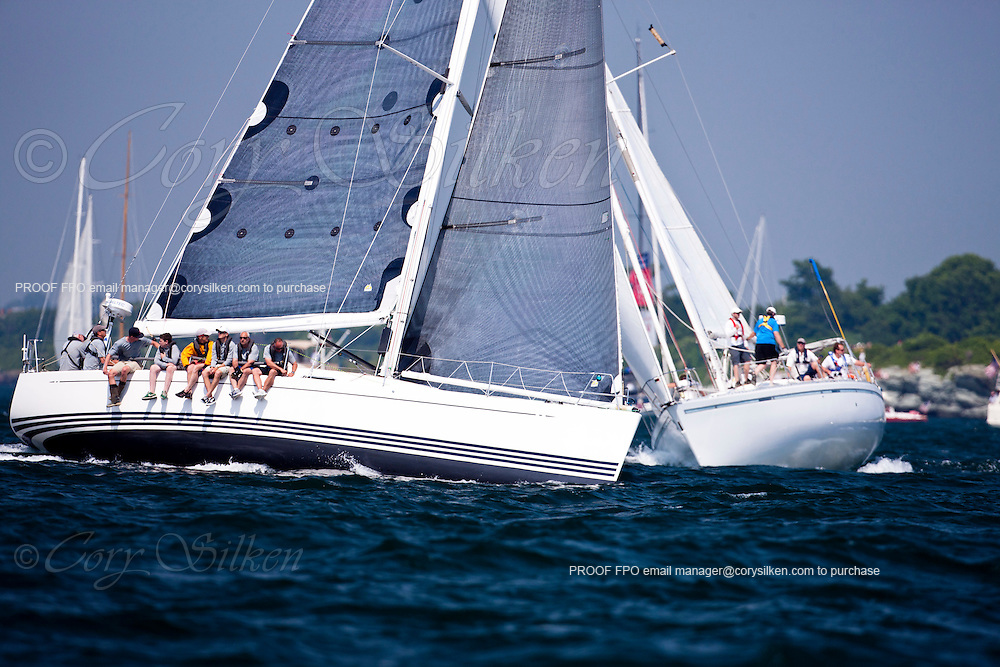 Sarah and Relativity sailing at the start of the Newport Bermuda Race 2010. The race began in Newport, Rhode Island on June 18, 2010.