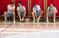 Uros Slokar, Goran Dragic, Edo Muric and Luka Lapornik during training camp of Slovenian National basketball team for Eurobasket 2013 on July 19, 2013 in Sports hall Rogatec, Slovenia. (Photo by Vid Ponikvar / Sportida.com)