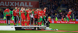 CARDIFF, WALES - Tuesday, October 13, 2015: Wales' Gareth Bale celebrates qualifying for the finals after a 2-0 victory over Andorra during the UEFA Euro 2016 qualifying Group B match at the Cardiff City Stadium. (Pic by Barry Coombs/Propaganda)