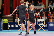 Helen Skelton high fives her partner during a celebrity doubles game after the Men's Singles Final Champions Tennis match at the Royal Albert Hall, London, United Kingdom on 9 December 2018. Picture by Ian Stephen.
