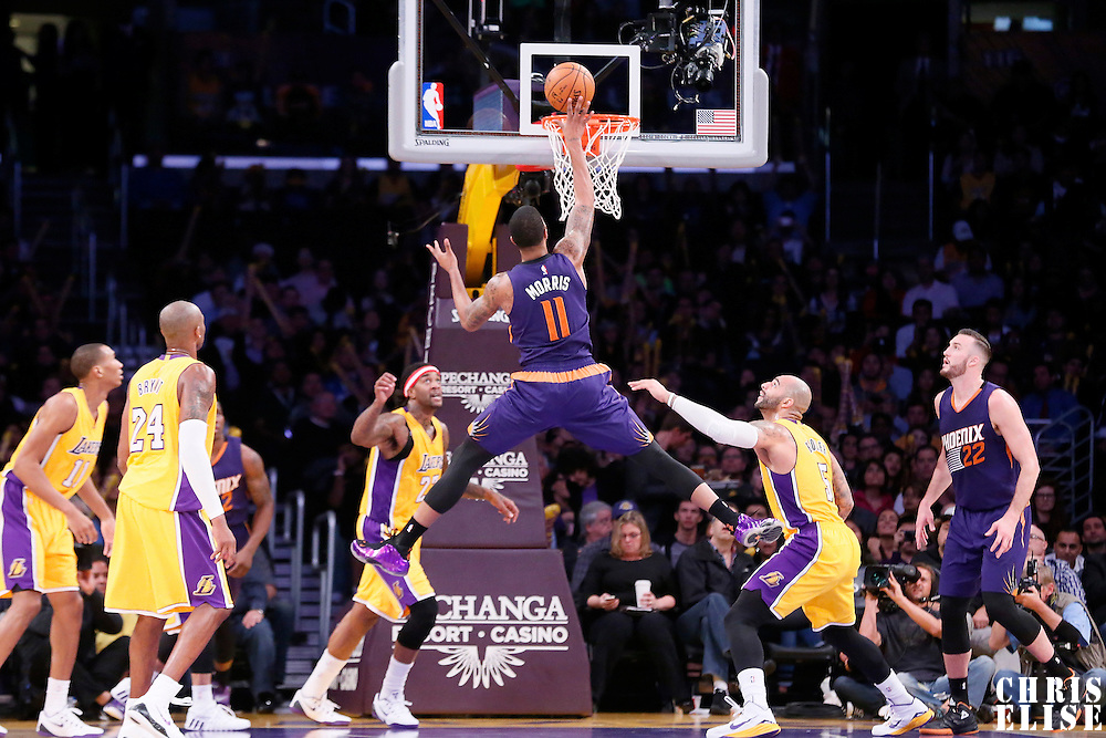 04 November 2014: Phoenix Suns forward Markieff Morris (11) goes for the layup during the Phoenix Suns 112-106 victory over the Los Angeles Lakers, at the Staples Center, Los Angeles, California, USA.