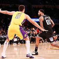 09 January 2018: Sacramento Kings center Willie Cauley-Stein (00) passes the ball past Los Angeles Lakers center Brook Lopez (11) during the LA Lakers 99-86 victory over the Sacramento Kings, at the Staples Center, Los Angeles, California, USA.