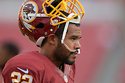 Washington Redskins running back Evan Royster (22) with his helmet off prior to an NFL preseason game against the Tampa Bay Buccaneers at Raymond James Stadium on Aug. 29, 2013 in Tampa, Florida. <br /> <br /> &copy;2013 Scott A. Miller