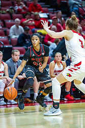 NORMAL, IL - November 20: Myia Starks looks for a way past Mary Compton during a college women's basketball game between the ISU Redbirds and the Huskies of Northern Illinois November 20 2019 at Redbird Arena in Normal, IL. (Photo by Alan Look)