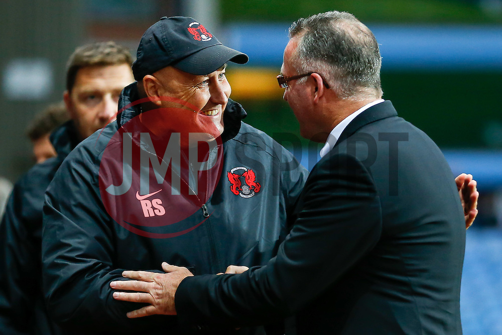 Leyton Orient Manager Russell Slade (ENG) is greeted by Aston Villa Manager Paul Lambert before the match - Photo mandatory by-line: Rogan Thomson/JMP - 07966 386802 - 27/08/2014 - SPORT - FOOTBALL - Villa Park, Birmingham - Aston Villa v Leyton Orient - Capital One Cup Round 2.