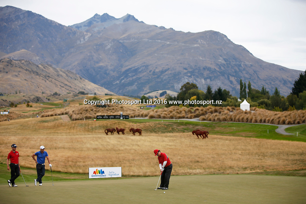 Dr Haruhisa Handa during Round 3 at The Hills during 2016 BMW ISPS Handa New Zealand Open. Saturday 12 March 2016. Arrowtown, New Zealand. Copyright photo: Michael Thomas / www.photosport.nz