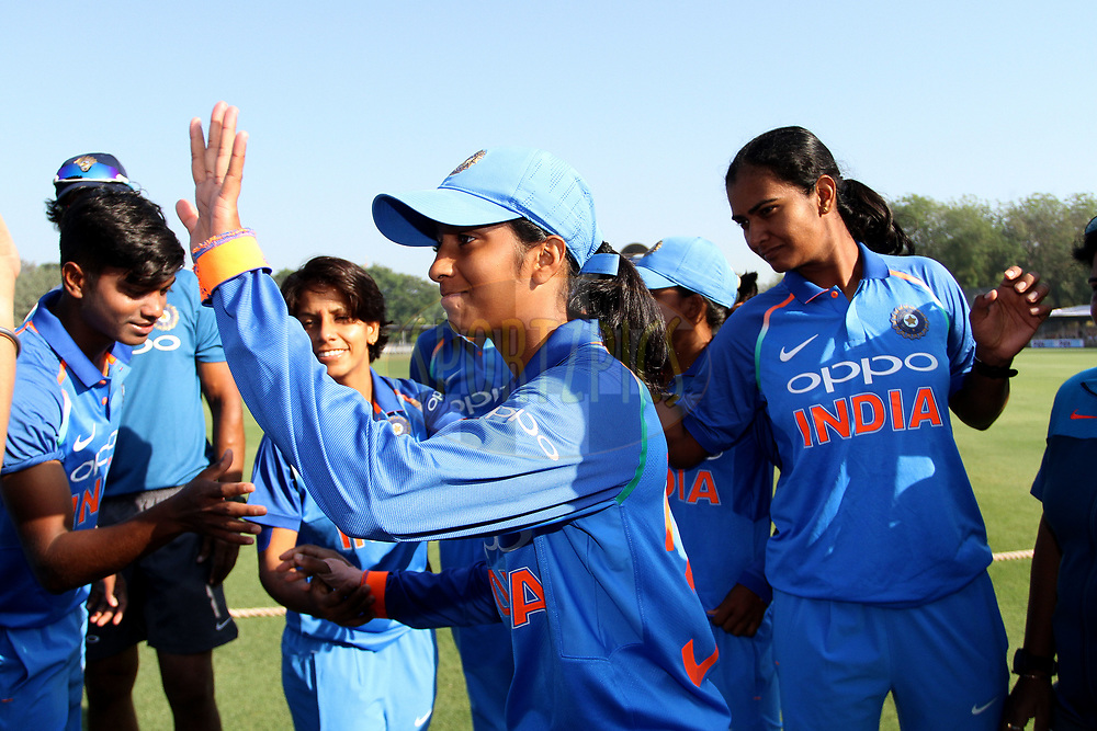 Jemimah Rodrigues of India after receiving her debut cap during the first women's one day International ( ODI ) match between India and Australia held at the Reliance Cricket Stadium in Vadodara, India on the 12th March 2018<br /> <br /> Photo by Vipin Pawar / BCCI / SPORTZPICS