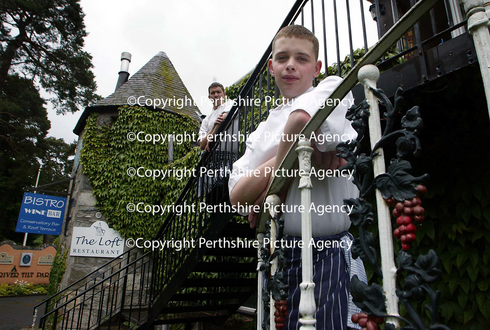 Daniel Richardson,16 year old Head Chef of The Loft restaraunt in Blair Atholl, Perthsire with the chef he ius replacing Paul Collins<br /><br />Picture by Graeme Hart.<br />Copyright Perthshire Picture Agency<br />Tel: 01738 623350  Mobile: 07990 594431