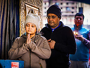 07 MARCH 2017 - KATHMANDU, NEPAL: People pray at the Kamaladi Ganesh Temple, the most important Hindu temple dedicated to Ganesh, known as the overcomer of obstacles, in Kathmandu. In Hindu theology, Tuesdays are the best day to pray to Ganesh and the temple is very busy on Tuesdays. People frequently visit temples dedicated to Ganesh when they buy a new home or start a new job.     PHOTO BY JACK KURTZ
