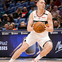 Mar 24, 2019; New Orleans, LA, USA; New Orleans Pelicans guard Dairis Bertans (9) drives against the Houston Rockets during the second half at the Smoothie King Center. Mandatory Credit: Derick E. Hingle-USA TODAY Sports