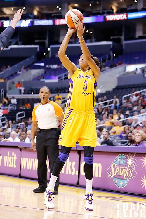 22 June 2014: forward/center Candace Parker (3) of the Los Angeles Sparks takes a jumpshot during the San Antonio Stars 72-69 victory over the Los Angeles Sparks, at the Staples Center, Los Angeles, California, USA.