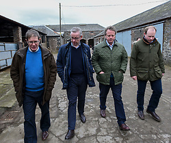 Pictured: Michael Gove, Alister Jack with farmers James Biggar and Donald Biggar.<br /> <br /> Chancellor of the Duchy of Lancaster Michael Gove visited Grange Farm in Dumfries & Galloway with Conservative candidate Alister Jack during the election campaign to highlight the beefits of Brexit to the farming sector.<br /> <br /> © Dave Johnston / EEm