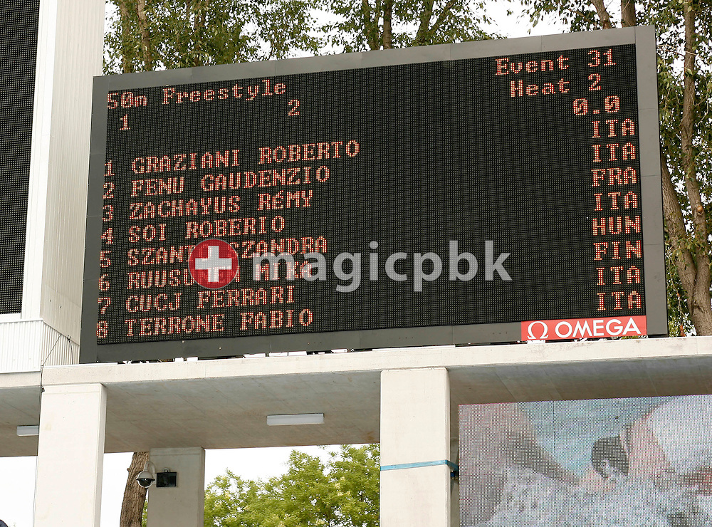 Omega scoreboard showing heat two of the Omega Trophy for Journalists at the 28th LEN European Swimming Championships in Budapest, Hungary, Saturday, August 5, 2006. (Photo by Patrick B. Kraemer / MAGICPBK for Omega)