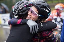 Katarzyna Niewiadoma (POL) and Pauline Ferrand-Prevot (FRA) of CANYON//SRAM Racing celebrate the win after the Trofeo Alfredo Binda - a 131,1 km road race, between Taino and Cittiglio on March 18, 2018, in Varese, Italy. (Photo by Balint Hamvas/Velofocus.com)