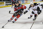 KELOWNA, CANADA - NOVEMBER 18:  Kole Lind #16 of the Kelowna Rockets and Thomas Foster #16 of the Vancouver Giants at the Kelowna Rockets game on November 18, 2016 at Prospera Place in Kelowna, British Columbia, Canada.  (Photo By Cindy Rogers/Nyasa Photography,  *** Local Caption ***