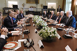 April 27, 2017 - Washington, District of Columbia, United States of America - President Mauricio Macri of Argentina speaks during a  working luncheon with President Trump  in the Cabinet Room of the White House  in Washington, DC, on April 27, 2017. .Credit: Olivier Douliery / Pool via CNP (Credit Image: © Olivier Douliery/CNP via ZUMA Wire)