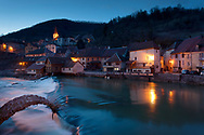NIghtfall in Lods, Doubs,  Bourgogne-Franche-Comte, France
