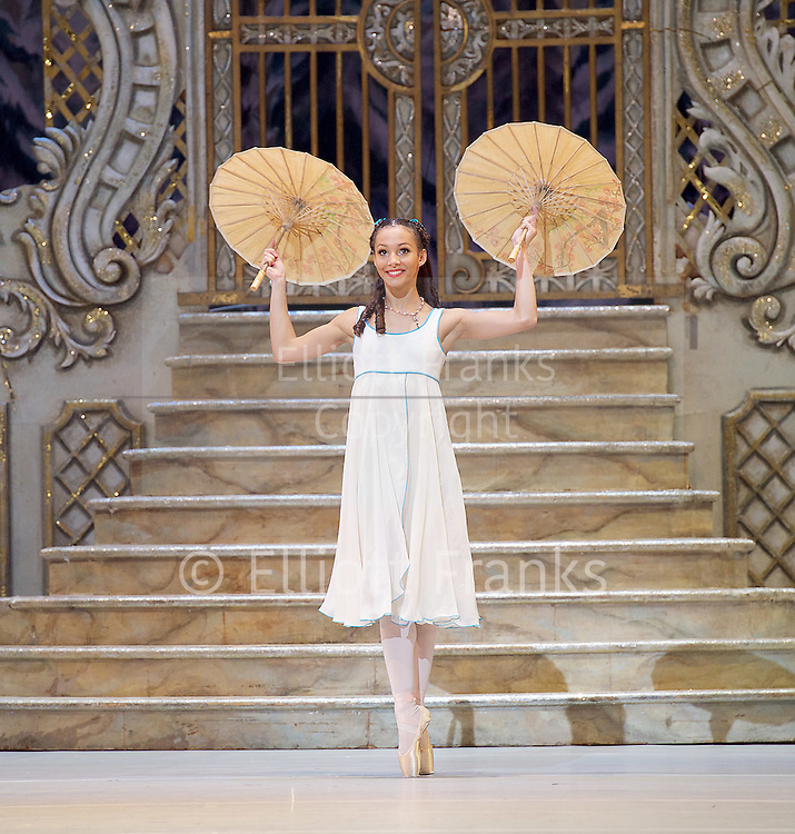 Francesca Hayward promoted to a Principal dancer in The Royal Ballet 10th June 2016 <br /> <br /> <br /> The Nutcracker<br /> <br /> Choreography by Peter Wright after Lev Ivanov<br /> Music by Tchaikovsky<br /> <br /> The Royal Ballet at the Royal Opera House, Covent Garden, London, Great Britain <br /> <br /> Pre-General Rehearsal <br /> <br /> 7 December 2015 <br /> <br />              <br /> <br /> Francesca Hayward as Clara  <br /> <br /> <br /> <br /> <br /> <br /> Photograph by Elliott Franks <br /> Image licensed to Elliott Franks Photography Services