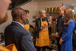 The Duke and Duchess of Cambridge speak with Clare Blampied, during a visit to Centrepoint in Barnsley.