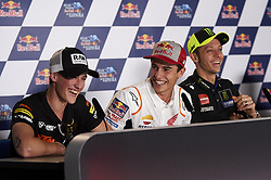 May 2, 2019 - Jerez De La Frontera, Cadiz, Spain - (L-R)Jaume Masia (5) of Spain and Bester Capital Dubai KTM, Marc Marquez (93) of Spain and Repsol Honda Team and Valentino Rossi (46) of Italy and Yamaha Factory Racing during the press conference before Red Bull GP of Spain at Circuito de Jerez on May 2, 2019 in Jerez de la Frontera, Spain. (Credit Image: © Jose Breton/NurPhoto via ZUMA Press)