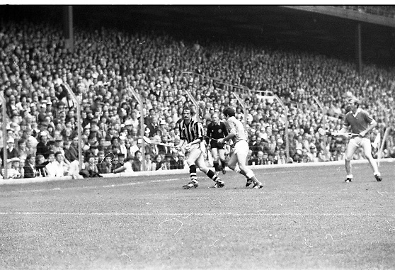 All Ireland Hurling Final - Cork vs Kilkenny.05.09.1982.09.05.1982.5th September 1982.Photographs taken as a Cork defender moves a Kilkenny strike on goal