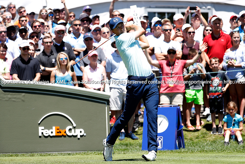 CROMWELL, CT - JUNE 24: Jordan Spieth of the United States  drives from the 1st tee during the third round of the Travelers Championship on June 24, 2017, at TPC River Highlands in Cromwell, Connecticut. (Photo by Fred Kfoury III/Icon Sportswire)