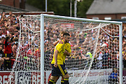 Brdley Fewster celebrates his goal during the Friendly match between York City and Middlesbrough at Bootham Crescent, York, England on 11 July 2015. Photo by Simon Davies.