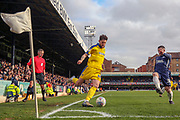 AFC Wimbledon midfielder Anthony Wordsworth (40) in the corner about to cross the ball during the EFL Sky Bet League 1 match between Southend United and AFC Wimbledon at Roots Hall, Southend, England on 16 March 2019.