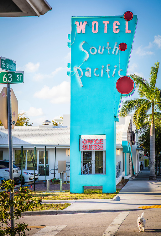"The South Pacific Motel, designed by Charles Giller in 1953, features a dramatic, Miami Modern pylon. In the 2010s, new owner Avra Jain reimagined the motel rooms as ""Work/Office Suites,"" and officially transformed the motel into a ""Wotel"" by inverting the letter ""M"" in the sign."