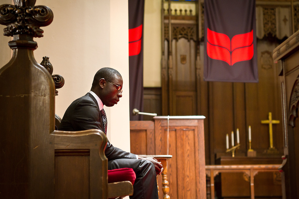 """James Kofi Annan takes a moment of brief repose before delivering his talk entitled """"Passion, Commitment, and Innovation: The Critical Success Factors in Community Project Sustainability"""" in Herrick Chapel on Wednesday afternoon."""