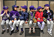 Team members of the St. Francis Xavier Coyotes little league gather on a window ledge before the start of their opening day parade in Brooklyn, N.Y.