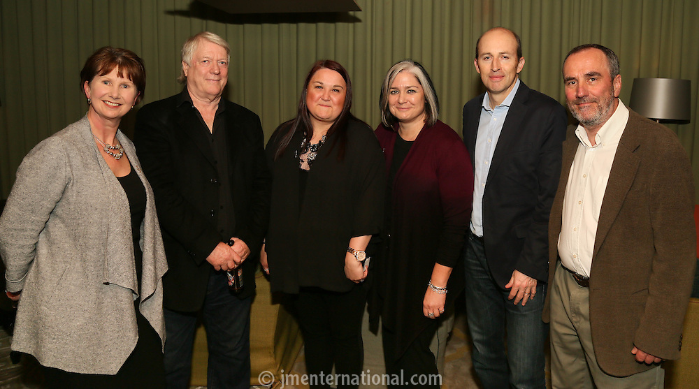 LtoR.  Julie Whelan, Rod Smallwood, Noreen Bishop, Emma Banks, Peter Leathem and David Munns. Silver Clef Awards 2015 Launch, The Cafe Royal, Monday 24 March. (photo John Marshall/JM Enternational)