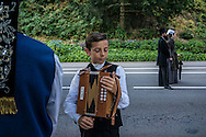 Tugdual Pevennou, 12, prepares for the Great Parade at the Festival de Cornouaille on Sunday, July 24, 2016 in Quimper, France.