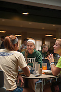 Sarah Jamieson (Center) talks with friends Macey Hill (Left) and Katie Curry (Right) at Shively Court Dining Hall.