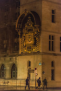 France. Paris. 1st district.  the old historical Clock of the Conciergerie. Paris  on the corner of the quai de l'Horloge, the first public clock, working perfectly despite having been made more than six centuries ago in 1370
