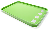 Green and white dinner tray