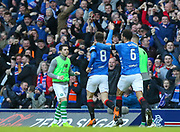 Ryan Jack (#8) of Rangers FC celebrates his goal with Connor Goldson (#6) of Rangers FC 1-0 during the Ladbrokes Scottish Premiership match between Rangers and Celtic at Ibrox, Glasgow, Scotland on 29 December 2018.