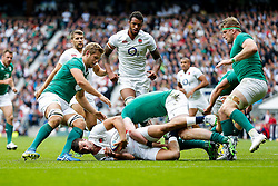 England Winger Jonny May is tackled by Ireland replacement Donnacha Ryan - Mandatory byline: Rogan Thomson/JMP - 07966 386802 - 05/09/2015 - RUGBY UNION - Twickenham Stadium - London, England - England v Ireland - QBE Internationals 2015.