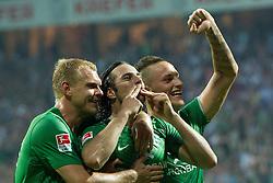 10.09.2011, Weser Stadion, Bremen, GER, 1.FBL, Werder Bremen vs Hamburger SV, im Bild.Jubel nach dem 2:0 durch Claudio Pizarro (Bremen #24) mit Marko Arnautovic (Bremen #7) Andreas Wolf (Bremen #23).// during the Match GER, 1.FBL, Werder Bremen vs Hamburger SV on 2011/09/10,  Weser Stadion, Bremen, Germany..EXPA Pictures © 2011, PhotoCredit: EXPA/ nph/  Kokenge       ****** out of GER / CRO  / BEL ******